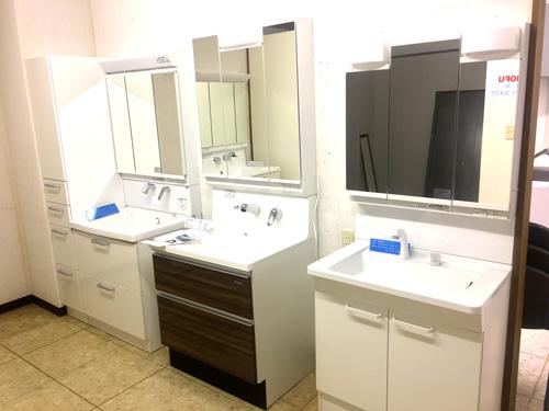 ショールームに展示された独立洗面台